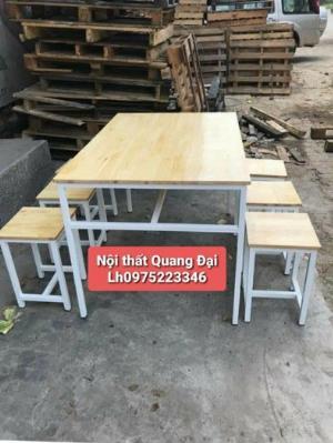 Bộ bàn ghế gỗ chân sắt giá rẻ