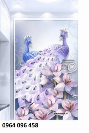 Gạch dán tường 3d mẫu tranh phòng khách sang trọng - KFF4