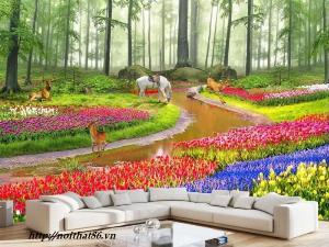Gạch 3d trang trí vườn hoa phong cảnh 3d HP60290