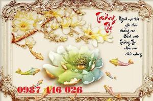 Tranh cá chép hoa sen 3d ốp trên tường HP5029