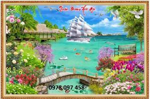 Tranh 3D phong cảnh - gạch tranh