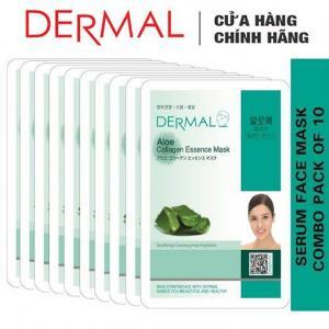 Mặt Nạ Dermal Tinh Chất Lô Hội Ngăn Ngừa Lão Hóa Da Aloe Collagen Essence Mask 23g - 10 Miếng