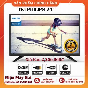 Tivi 24 Philips 24PTH hỗ trợ DVB-T2, HDMI, Vga, USB