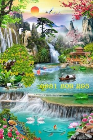 Tranh gạch thác nước - phong cảnh trang trí