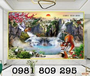 Tranh gạch 3d phong cảnh hổ đại bàng