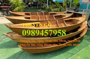Thuyền gỗ 3m trang trí nhà hàng, Thuyền 2m gỗ sao, Thuyền gô - xuồng gỗ