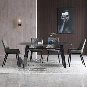 Bộ bàn ăn mặt đá 1m6 và 4 ghế nệm hiện đại TN Boone Lux 15A