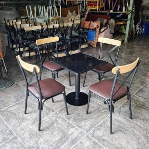 Bộ bàn ghế chữ X sắt mỹ nghệ lót simili