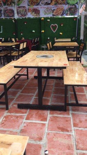 Bàn ghế gỗ chân sắt,ăn vặt,trà sữa,xuyên que