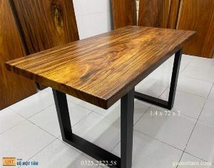 [ Siêu Rẻ ] Bàn làm việc gỗ me tây nguyên tấm dài 1,4m x 72cm x 5cm