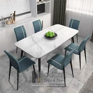 Bộ bàn ghế ăn mặt đá 1m6 dành cho 6 người hiện đại tại HCM