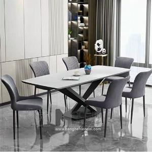 Bộ bàn ăn mặt đá 1m8 cho 6 ghế nệm hiện đại tại HCM