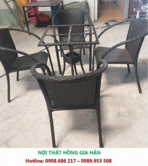 Sale Off 50 Bộ Bàn Ghế Cafe Nhựa Giả Mây Hàng Đẹp HGH MN03