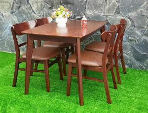 Bộ bàn ăn nhà hàng gỗ Mango (60x1m2)