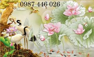 Tranh gạch men chim hạc, tranh ốp tường trang trí đẹp HP3489