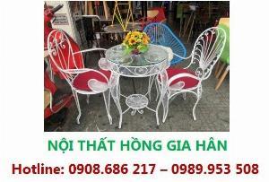 Bộ Bàn Ghế Cafe Hoa Văn Hgh89 Cho Sân Vườn Biệt Thự