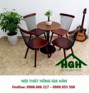 Bộ Bàn Ghế Gỗ Cafe Lưng Tựa Hgh071