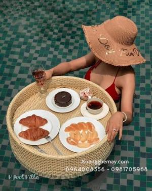 Khay nổi bể bơi, Khay đựng đồ ăn sáng nhựa giả mây
