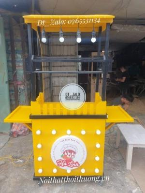 Xe gỗ trà sữa mới có đèn led kết hợp với màu sắc nổi bật, giá rẻ tại xưởng