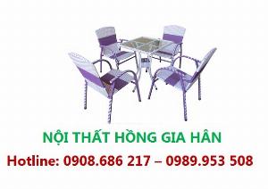 Bộ Bàn Ghế Cafe Mây Nhựa Thanh Lịch Hgh22