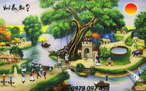 Tranh phong cảnh làng quê - gạch tranh