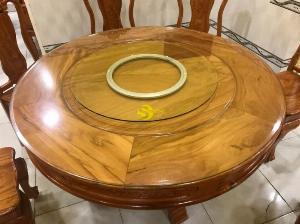 Bộ bàn ăn gõ đỏ tròn 8 ghế chạm hoa hồng – BBA218