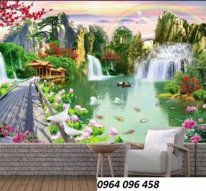 Tranh 3d - tranh gạch 3d phong cảnh sông núi - MCV4