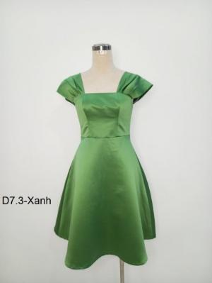 Đầm dáng tiểu thư thời trang trẻ trung sang trọng kiểu xòe D7.3-Xanh
