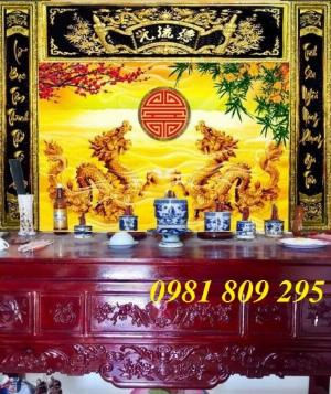 Gạch tranh 3d rồng vàng ốp bàn thờ