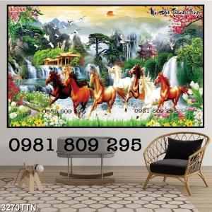 Gạch tranh 3d ngựa ốp phòng khách