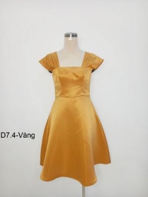 Đầm tiểu thư dáng xòe thời trang sang trọng D7.4-Vàng
