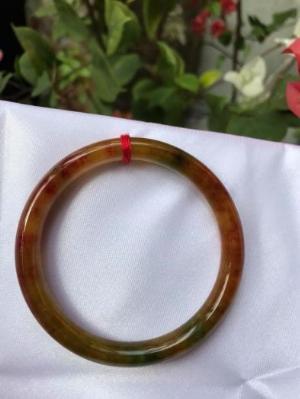 Vòng tay đá cẩm thạch Tứ Quý 51mm bóng đẹp lạ Size vòng 51mm x dầy 7mm Màu Xanh lá