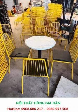 Bộ Bàn Ghế Cafe Bằng Sắt Nhiều Màu HGH