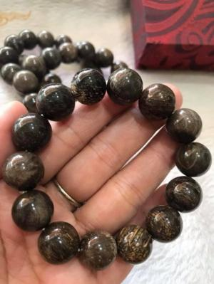 Vòng Gỗ Hóa Thạch Nam Đeo Tay Rất Đẹp Hiếm có hàng size 14mm 14 hạt