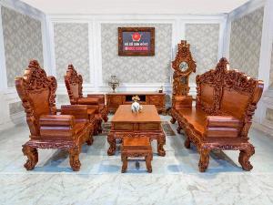 Bộ bàn ghế hoàng gia hoa hồng Hương đá   Mặt liền – BBG226