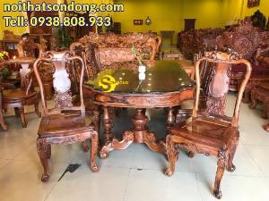Bộ bàn ăn bàn ovan lượn, 8 ghế chạm đào, tựa lục bình gỗ cẩm lai VN siêu vip – BBA159B
