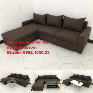 Bộ bàn ghế sofa góc | Sofa góc chữ L Nâu cafe đen đậm giá rẻ đẹp salong Linco Đồng Nai
