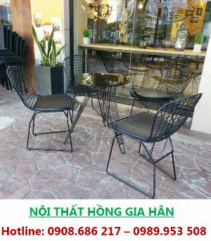 Bộ Bàn Cafe 4 Ghế Sắt Có Đệm HGH