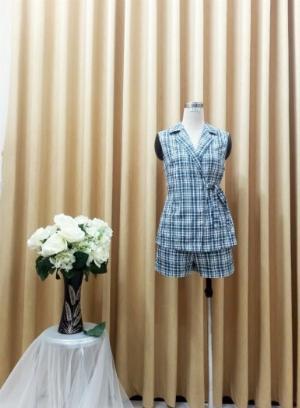 Bộ Vest nữ họa tiết caro cột dây eo xinh xắn, trẻ trung SET-1-VEST