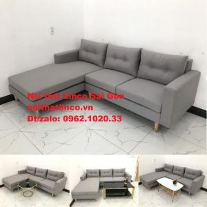 Ghế sofa góc L   Màu xám trắng vải bố giá rẻ đẹp   Sofa góc Nội thất Linco TP Long An