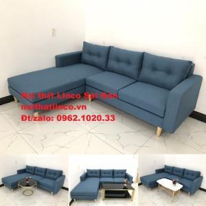 Bộ ghế sofa góc chữ L xanh nước biển rẻ đẹp ở tại Nội thất Linco Sài Gòn