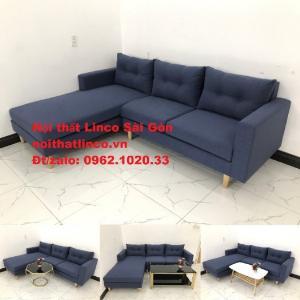 Salon góc L rẻ   Sofa góc màu xanh đậm đẹp hiện đại tại Sopha Linco TP Long Khánh