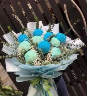Bó hoa cúc mẫu đơn xanh cao cấp - LDNK08