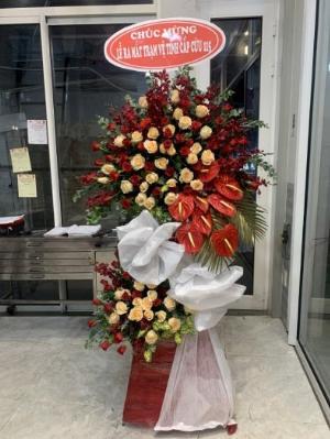 Lẵng hoa tươi 2 tầng tone đỏ chúc mừng khai trương - LDNK22