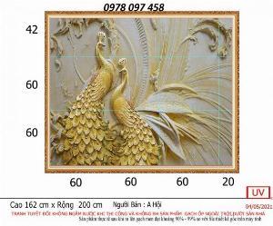 Tranh 3D - tranh chim công vàng ốp tường