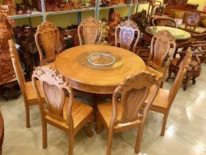 Bộ bàn ăn tròn gỗ 8 ghế – BBA2188T