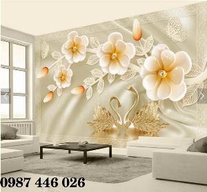 Gạch 3d tranh hoa ngọc bích ốp tường HP4944