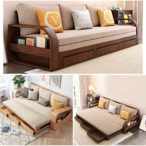 Ghế sofa giường kéo đa năng, bộ giường ghế gấp thông minh gỗ tự nhiên giá rẻ