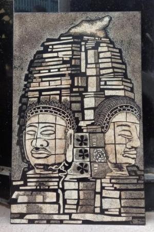 Tranh sơn mài cẩn trứng đề tài Phật Giáo