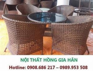 Bộ Bàn Ghế Cafe Mây Nhựa Cao Cấp HGH